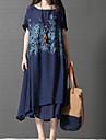 Pentru femei Mărime Plus Size Chinoiserie Bumbac Linie A Larg Rochie - În Straturi Imprimeu, Copaci / Frunze Midi Albastru