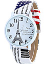 Women\'s Quartz Wrist Watch / Casual Watch Leather Band Casual Eiffel Tower Fashion Cool White Blue Brown Rose