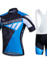 Fastcute Men\'s Short Sleeve Cycling Jersey with Bib Shorts - Black / Blue Plus Size Bike Clothing Suit Breathable 3D Pad Quick Dry Sweat-wicking Sports Polyester Lycra Sports Mountain Bike MTB Road
