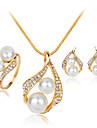 Set bijuterii Perle Imitație de Perle Ștras Argilă Aliaj La modă Alb Set Nuntă Petrecere 1set Coliere Σκουλαρίκια Inele Cadouri de nunta