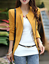 Women\'s Color Block Black/Brown/Yellow Blazer , Casual Square Neck Long Sleeve