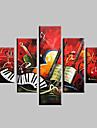 Pictat manual Abstract Peisaj Fantezie Peisaje Abstracte  Orice formă,Modern Cinci Panouri Canava Hang-pictate pictură în ulei For Pagina