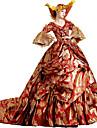 Βικτωριανής Εποχής Rococo Costume Pentru femei Rochii Mascaradă Costume petrecere Rosu Vintage Cosplay Dantelă Bumbac Lung Trenă Court