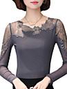 Damă Rotund Bluză Ieșire Plus Size Sexy Simplu(ă),Peteci Manșon Lung Primăvară Toamnă-Mediu Poliester
