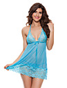 Feminin Babydoll & Slip / Ultra Sexy Pijamale,Subțire Dantelă-Sexy / Dantelă Solid Albastru