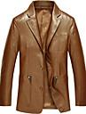 Bărbați Guler Peter Pan Regular Palton Piele Birou / Carieră Ceremonie Oficial Dată Elegant & Luxos, Culoare solidă Iarnă N/A