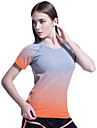 Dam Rund hals T-shirt för jogging - Orange, Rosenröd, Grön sporter Rand, Sexig, Färggradient Elastan T-shirt / Överdelar Kortärmad