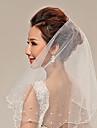 Voal de Nuntă Două Straturi Voaluri Lungime Până la Vârfurile Degetelor Ornament margine perlă Tul
