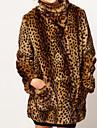 Damă Stand Palton Piele Petrecere Casul/Zilnic Plus Size Vintage Șic Stradă Sofisticat,Leopard Manșon Lung Iarnă-Lung Blană Artificială