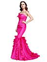 Trompetă / Sirenă Fără Bretele Lungime Podea Tafta Seară Formală Rochie cu Drapat Părți de TS Couture®