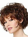 Syntetiskt hår peruker Lockigt Värmetåligt Pixie-frisyr Med lugg Naturlig peruk Korta Beige