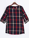 Femei Rotund Tricou Casul/Zilnic Vintage / Simplu(ă),Bloc Culoare ½ Lungime ManșonRoșu Mediu Poliester