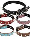 Hund Halsband Justerbara / Infällbar Nit Handgjord Enfärgad Äkta Läder Svart Brun Röd Blå Rosa
