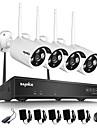 sannce® 4ch trådlös nvr kit 720p utomhus natt vision 1.0mp säkerhet kamera ip wifi övervakning cctv system