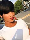 Synteettiset peruukit Laineita Kardashian Tyyli Pixie-leikkaus Suojuksettomat Peruukki Musta Musta Synteettiset hiukset Naisten Heat Resistant Musta Peruukki Lyhyt / Kyllä