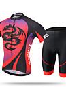 XINTOWN Herr Kortärmad Cykeltröja med shorts - Röd Cykel Shorts Vadderade shorts Tröja Byxa Klädesset, Snabb tork, UV-Resistent,