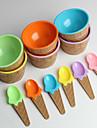 plastic pentru înghețată boluri linguri pentru copii set durabil cupa de inghetata (de culoare aleatorii)