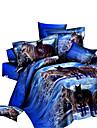 Påslakan Sets 3D 4 delar Polyester Reaktiv Tryck Polyester 4 st. (1 Påslakan, 1 Lakan, 2 Örngott)