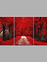 Peisaj Fantezie Modern,Trei Panouri Canava Orizontal Imprimeu Decor de perete For Pagina de decorare
