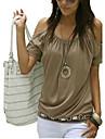 Pentru femei Cu Bretele / De Pe Umăr - Mărime Plus Size Tricou Bumbac Șic Stradă - Mată Decupată / Vară
