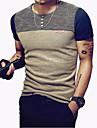 Rund hals Tynd Herre - Farveblok Patchwork Sport T-shirt Navyblå XXXL / Kortærmet / Sommer