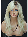 Femme Perruque Synthetique Ondule Blond Racines foncees Partie laterale Cheveux Colores Perruque Naturelle Perruque Deguisement