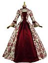 Vintage Victoriansk Rokoko Kostym Dam Klänningar Festklädsel Maskerad Röd Vintage Cosplay Spets Cotton Långärmad Poet Lång längd
