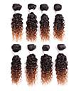 Äkta hår Brasilianskt hår Nyans Lockigt Lockig weave Hårförlängningar 1 st. Svart/Rödlätt Svart / Medium Rödbrun Svart / Vinröd