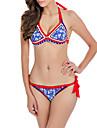Dame Imprimeu Cu Bretele Bikini Costume de Baie Floral Albastru piscină Alb Negru Roșu-aprins
