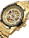 FORSINING Bărbați Mecanism automat ceas mecanic / Ceas de Mână Gravură scobită Oțel inoxidabil Bandă Lux / Modă Auriu