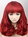 Sintetičke perike Valovita kosa Stil Sa šiškama Capless Perika Crvena Crvena Sintentička kosa Žene Crvena Perika Srednja dužina Prirodna perika