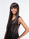 Human Hair Capless Parykar Rak Stil Med lugg Utan lock Peruk Brun Mörkbrun Syntetiskt hår Dam Sidodel Brun Peruk Lång / Väldigt länge MAYSU Naturlig peruk