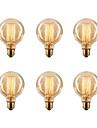 Ecolight™ 6pcs 40W E26 / E27 G80 2300k Glödande Vintage Edison glödlampa 220-240V