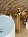 Hedendaagse Middenset Waterherfst Keramische ventiel Single Handle Een Hole Ti-PVD, Wastafel kraan
