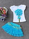 Fete Set Îmbrăcăminte Bumbac Poliester Zilnic Ieșire Concediu Primăvară Vară Manșon scurt Floral Albastru piscină Trifoi Roșu-aprins Roz