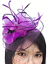 Feather Net Fascinators Headwear Birdcage Veils with Floral 1pc Wedding Special Occasion Headpiece