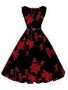 Pentru femei Petrecere Vintage Linie A Rochie - Imprimeu, Floral Lungime Genunchi