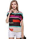 Women\'s Cute Plus Size Puff Sleeve Blouse - Rainbow Patchwork Stripe
