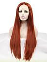 Femme Perruque Synthetique Lace Front Raide Auburn Ligne de Cheveux Naturelle Perruque Naturelle Perruque Halloween Perruque de carnaval