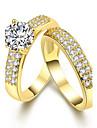 Γυναικεία Cubic Zirconia Crossover Δαχτυλίδι Απομίμηση Μαργαριταριού Ζιρκονίτης Χαλκός Φίλοι κυρίες Εξατομικευόμενο Geometric Μοναδικό Κλασσικό Βίντατζ Μοδάτο Δαχτυλίδι Κοσμήματα Χρυσό / Ασημί Για