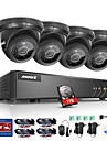 Annke ® 8ch 4pcs 720p hd video 1080n 5 in 1 dvr monitor de ochi sp ir cutie viziune de noapte sistem de supraveghere impermeabil 1tb