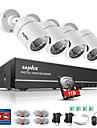 sannce® 4ch 4st 720p hd kamera 1080n hdmi vga dvr & vattentät hemövervakningssäkerhetssystem 1tb ir nattsyn