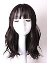 Syntetiskt hår peruker Vågigt Med lugg Utan lock Karneval peruk Halloween Paryk Naturlig peruk Mellan Svart