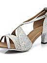 Dam Latinamerikansk Glitter Paljett Läder Sandaler Högklackade Prestanda Glitter Spänne Paljett Stjärna Sided Hollow Out Kubansk klack
