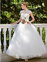 Haine Bal Gât Înalt Lungime Podea Dantelă Tulle Rochie de mireasă cu Mărgele Aplică de Embroidered Bridal