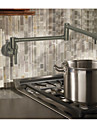 Moderne Decoration artistique/Retro Pot Filler Set de centre Separe Rotatif Soupape ceramique Deux poignees un trou Nickel brosse,