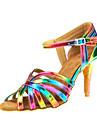 Damă Latin Imitație de Piele Sandale Călcâi Profesional Cataramă Toc Personalizat Curcubeu Toc Personalizat Personalizabili