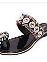 Pentru femei Pantofi Piele de Porc Primăvară Tălpi cu Lumini Mocasini & Balerini Alb / Negru