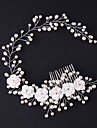 Tulle Tiaras Hair Combs Flowers with Feather 1 Event/Party Headpiece