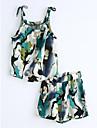 Fete Set Îmbrăcăminte Bumbac Vară Fără manșon Albastru piscină